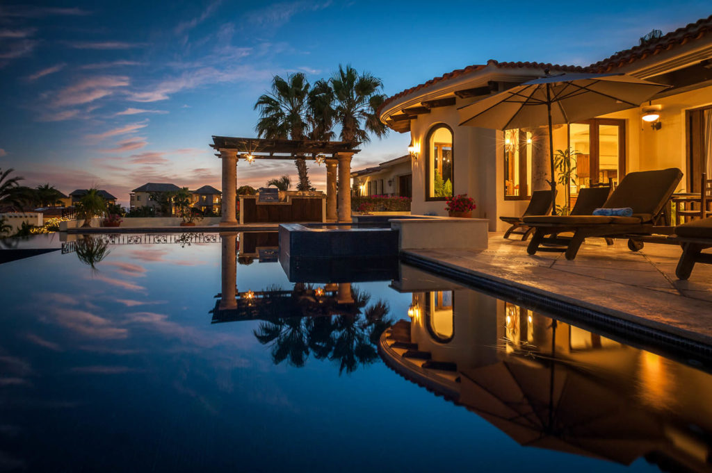 Dusk at one of our Cabo Vacation Home Rentals